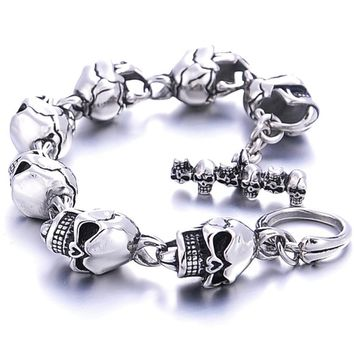 LASPERAL Skeleton Skull Bicycle Link Chains Biker Bracelet Men 316L Stainless Steel Bracelet