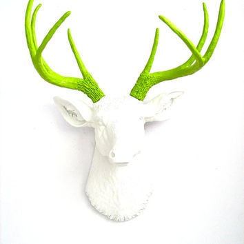 Faux Taxidermy Deer Head wall mount wall hanging wall decor in white with lime green antlers home decor