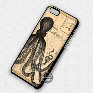Vintage Old Map Kraken Giant Octopus - iPhone 7 6 5 SE Cases & Covers