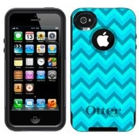 Otterbox Commuter Chevron Turquoise Teal Pattern Case for Apple iPhone 4