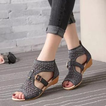 Retro Gladiator Sandal Wedges