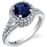 Created Sapphire Halo Ring Sterling Silver Rhodium Nickel Finish 1.75 Carats Sizes 5 to 9