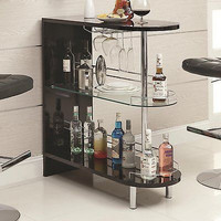 Black 2 Shelf Bar Table Home Decor Room Living Dining Pub Game Kitchen