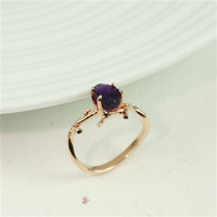 Rosegold Branch Amethyst Ring