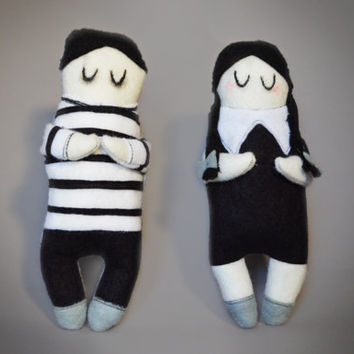 Set of Two - Wednesday and Pugsley Addams - Addams Family Plush Dolls - Cute Felt Plushie - Halloween Collectables