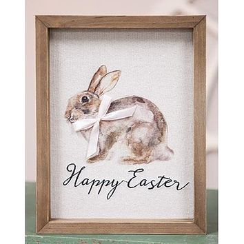 Happy Easter Bunny Watercolor Framed Sign