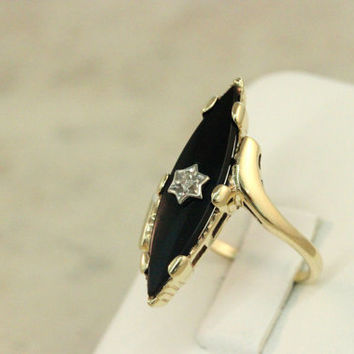 Vintage Onyx Ring 10k Yellow Gold Ring Cocktail Ring Marquise Ring Diamond Ring Estate Ring Black Onyx Ring Gemstone Ring Size 6.5