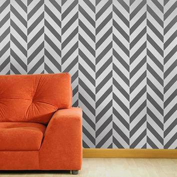 Herringbone Allover Stencil - reusable stencil patterns for walls just like wallpaper - DIY decor