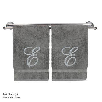 Monogrammed Hand Towel, Personalized Gift, 16 x 30 Inches - Set of 2 - Silver Embroidered Towel - Extra Absorbent 100% Turkish Cotton- Soft Terry Finish - For Bathroom, Kitchen and Spa- Script E Gray