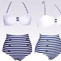 High Quality Vintage High Waist Bikini Polka Dot Nautical Stripe Set Top Bottom = 1955935620