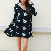 Free People Wild Flower Tunic Dress - Black