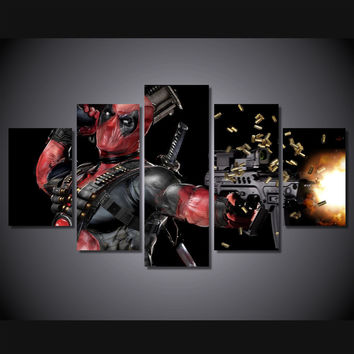 HD  Deadpool Mask Gun Automatic Painting Canvas HOME DECOR