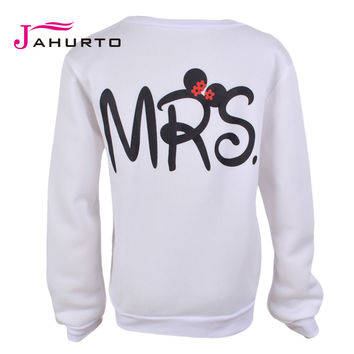 Womens Sweatshirts 2016 Spring Cute MR MRS Letter Printed White Matching Couple Hoodies Men And Women Hoodies Pullover