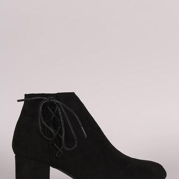 Bamboo Side Lace Chunky Heel Booties