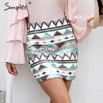 Simplee Aztec print sequin pencil skirt High waist streetwear zipper short skirt 2017 New autumn mini skirts womens bottom