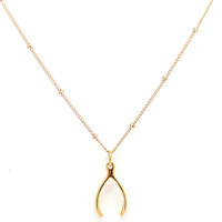 Gold Wishbone Satellite Chain Charm Necklace