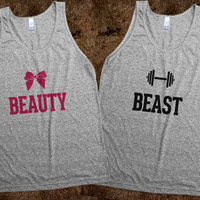 Beauty & Beast Pair tank tops