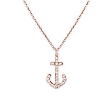 Diamond Anchor Necklace, 14K Rose Gold Pendant Necklace, Anchor Jewelry, Diamond Pendant, Nautical Jewelry, Anniversary Gifts