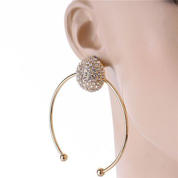 Gold Half Hoop Rhinestone Statement Earrings