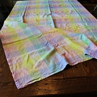 Pastel rainbow vintage gingham checkerboard table cloth with stitching detail