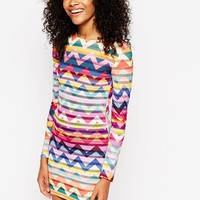 ASOS ChevRon Long Sleeve Bodycon Dress