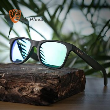 Hu Wood Summer Style Vintage Black Square Sunglasses With Bamboo Mirrored Polarized Lens
