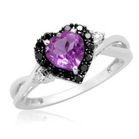 10k White Gold Heart Shaped Amethyst with Round Black and White Diamond Ring, Size 8