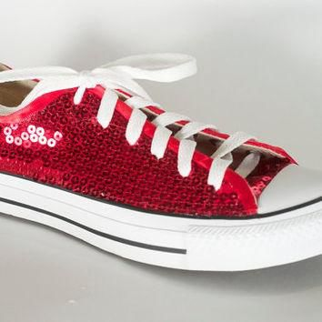 Ruby Red Sequin Converse All Star