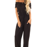 Obsidian Off the Shoulder Jumpsuit with Waist Tie