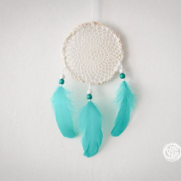 Dream Catcher -  Magical Mandala - With Turquoise Feathers and Crochet Web - Nursery Mobile, Boho Home Decor, Decoration