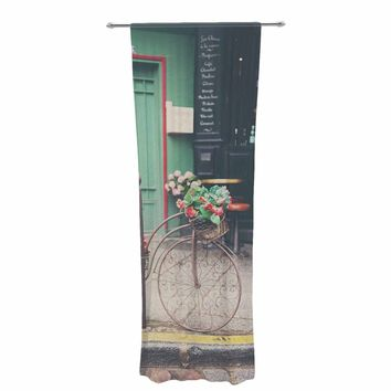"""Laura Evans """"Bicycle Art"""" Green Multicolor Photography Decorative Sheer Curtain"""
