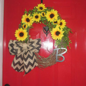 Summer Sunflower Monogrammed Grapevine Wreath, Black Chevron Burlap Bow, Sunflower Door Decor