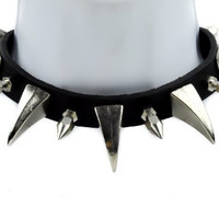 "Black Leather 1.5"" Claw & Spike Gothic Choker Necklace"