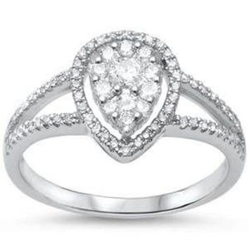 Prong F SI Pear Cut Tear Drop Diamond 14kt White Gold Engagement Ring