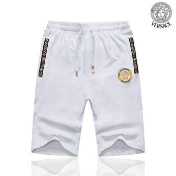 Mens White VERSACE Beach Shorts Fashion Casual Summer Wear Holiday Vacation