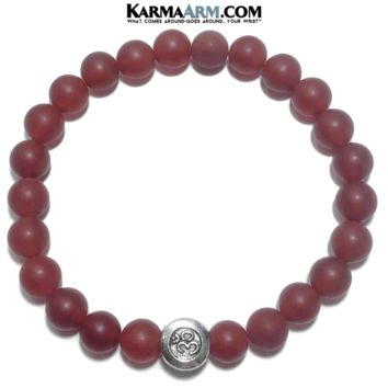 ALLEVIATE ANXIETY | Matte  Red Agate | OM Bead | Yoga Meditation Bracelet