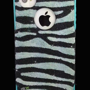 Custom Glitter Design Case Otterbox for iPhone 4S Black/Teal White Zebra Stripes
