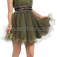 A-line One Shoulder Tulle Short/Mini Green Sashes / Ribbons Prom Dress at dressestore.co.uk