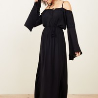 Eliora Black Open Shoulder Maxi Dress
