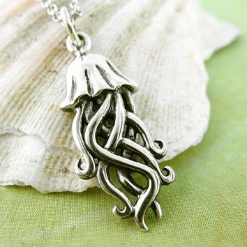 Floating Jellyfish Necklace with Tentacles