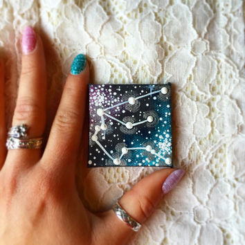 Tiny Hand Painted Aquarius Constellation Magnet