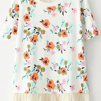 White Short Sleeve Floral Ruffled T-Shirt