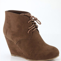 Chestnut Wedge Booties