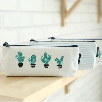 1pcs Cactus Pencil Case Canvas School Supplies Kawaii Stationery Gift Estuche School Cute Pencil Box Pencilcase Stationary 04907