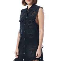 Frayed Hem Distressed Denim Dress