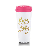 Boss Lady Travel Mug, pink travel mug, Tumbler, 20oz Travel Mug, Coffee Mug, Gift for her, gift for boss, motivational mug, inspirational