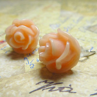 Rose Flower Studs Peach Resin & Silver Plated Metal by EbonFlow
