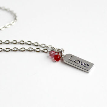 "Dainty Pink and Red Swarovski Beaded Pendant with ""Love"" Word Charm - Romantic Valentine's Day Jewelry"