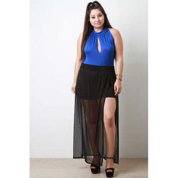 Semi-Sheer Mesh Slit Maxi Skirt