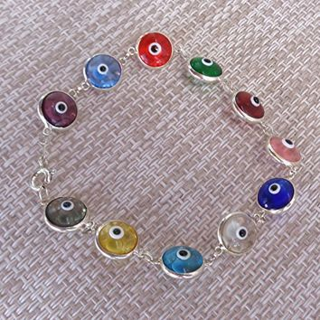 Bracelet Colorful Evil Eye protection 925 Sterling Silver